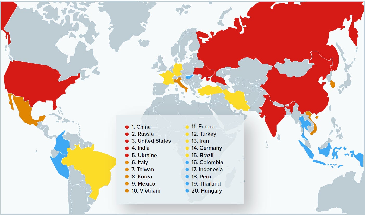 Top 20 Software License Misuse and Piracy Hotspots